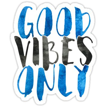 'Good Vibes Only | Blue And Black' Sticker by meg779