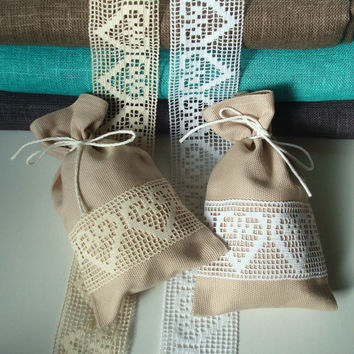 Set of 10 Rustic Burlap Fabric Gift Bags - Small Size from cotton / linen Fabric with ivory /white Hearts Lace; Fabric Favor bags; Sachets