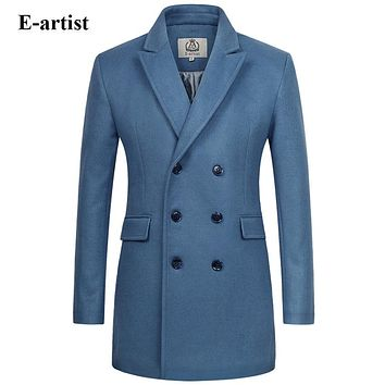 Men's Long Double Breasted Wool Trench Coat Male Warm Winter Jackets Pea coats Outerwear Overcoats