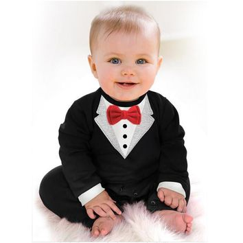 Baby Boys White or Black Long Sleeve Tuxedo Jumpsuit