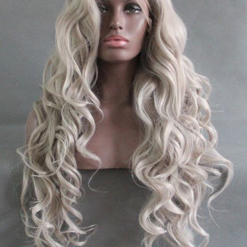 Custom Light Grey Long Wavy High Quality Heat Resistant Synthetic Lace Front Glue-Less Wig