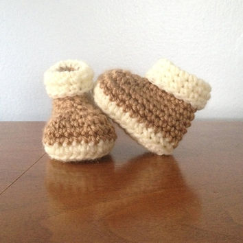 Crochet Preemie Baby Booties - Unisex Baby Shoes - Brown Booties - Crochet Gender Neutral Booties - Crochet Preemie Clothes - Baby Booties