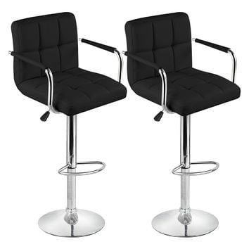 2 Faux Leather Kitchen Breakfast Bar Stool Bar Stools Swivel Stools (Style A, Cream,Black)