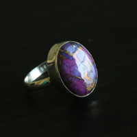 Purple Copper Turquoise Ring Oval US6