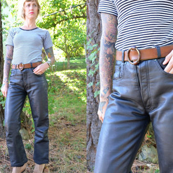 Vintage 80s High Waisted Cowhide Leather Biker Pants