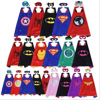Superhero Capes And Mask Superman Spiderman Batman Super Hero Costume For Children Halloween Party Costumes For Kids