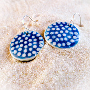 Porcelain Drop Earrings - Turquoise with White Polka Dots