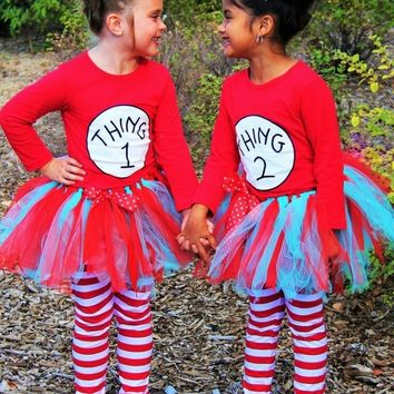 """THING 1 AND THING 2"" TUTU COSTUMES- INCLUDES LEGGINGS!"