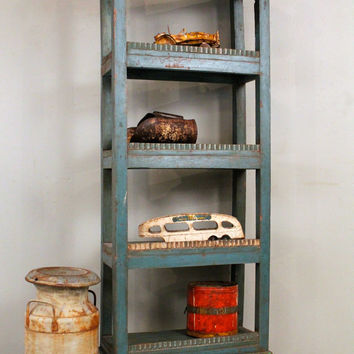 Farm Chic Bookcase Reclaimed Turquoise Blue Green Antique Indian Book Shelf Display Storage Childrens