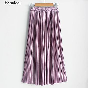 Hermicci Summer Pleated Ankle-length Maxi Skirt Long Vintage Women Metallic Skirt