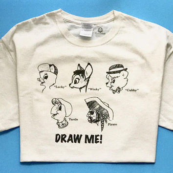 Rare Vintage DRAW ME Art Institute T Shirt / Mail Order Artist Test Ad / Retro Light Beige Crew Neck Tee / Cartoon Animal Characters