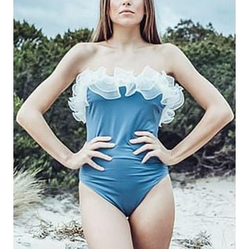 New fashion solid color strapless one piece bikini swimsuit Blue
