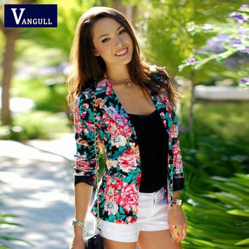 Women Floral Blazer Jacket 2016 New Casual Female Suit Ladies One Button Slim Suit Coat Jacket Blazer Outwear Mujer