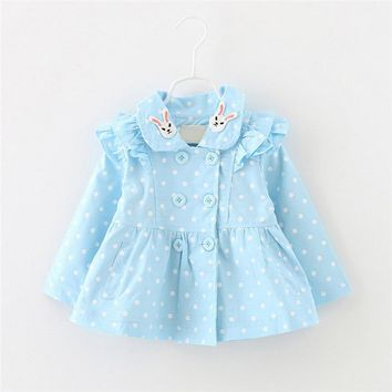 New Kids girls spring fashion Coats Baby spring cute rabbit collar polka dots print Trench for girls 12-24 months !