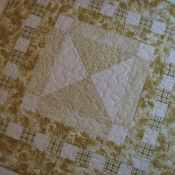 Quilted Christmas Table Topper , Pale Gold , Reversible , Square Topper