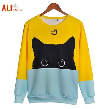Alisister Cute Black Cat Sweatshirt Women Men Kawaii Long Sleeve Animal Hoody 2017 Autumn Winter Pullovers Funny Brand Clothing