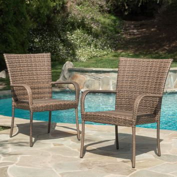 Chrystie Outdoor Mixed Mocha Wicker Stackable Club Chairs (Set of 2)
