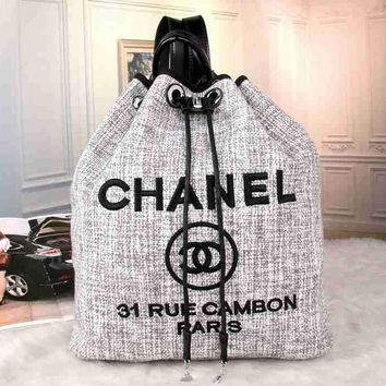 CHANEL Women Fashion College Canvas Satchel Bookbag Backpack
