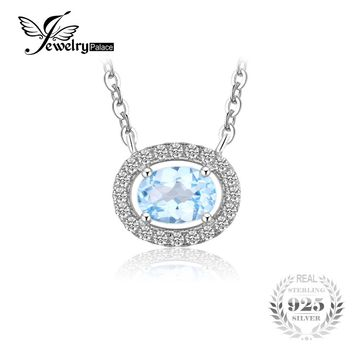 JewelryPalace 1ct Natural Blue Topaz 925 Sterling Silver Pendant Necklace 45cm Box Chain Fine Jewelry for Women Brand Promotion