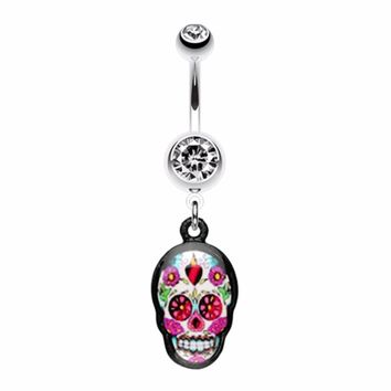 Brightly Colored Sugar Skull Print Belly Button Ring