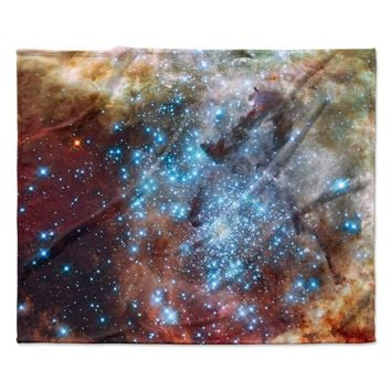 "Suzanne Carter ""Star Cluster"" Blue Space Fleece Throw Blanket"