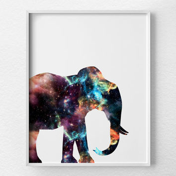Elephant Decor, Elephant Print, Cosmic Elephant Art, Animal Art, Elephant Nursery, Nebula Art, Elephant Poster, Dorm Decor, 0378