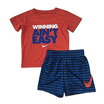 Nike Infant Boys Winning Aint Easy T-Shirt and Shorts Set Black/Game Royal Size 18 Months