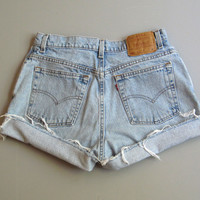 Vintage Levi's 550 High Waist Cut Off Denim Shorts Boyfriend Jeans 14 Blue 31""