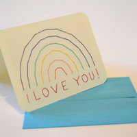 I Love You! rainbow hand-stitched card, Anniversary card with rainbow