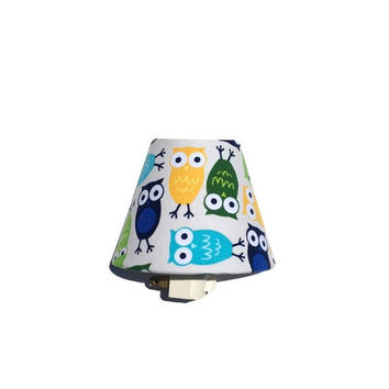 SALE Owl Night Light / Baby Girl Boy Nursery Decor / Green Blue Yellow Gender Neutral Unisex / Kids Room Bathroom / Urban Zoologie Robert Ka