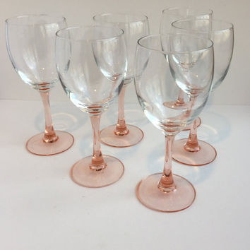 Pink Stemmed Wine Glasses, Set of 6 Vintage Pink Stem Wine Goblets, Pink Stemware Wine Glasses, Tall Pink Stemware Wedding Toasting Glasses