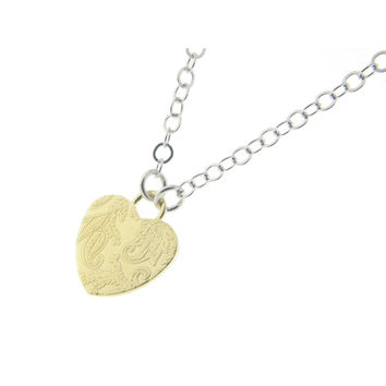 Sterling Silver Italian Tapestry Gold Heart Charm Necklaces 16""