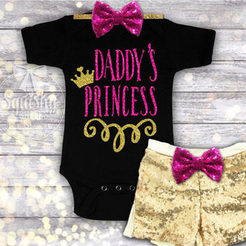 Daddy's Princess Outfit, Father's Day Gift, 1st Father's Day, Sized Newborn-6T, Onepiece or T-Shirt, Choose Outfit Options: Top, Shorts, Bow