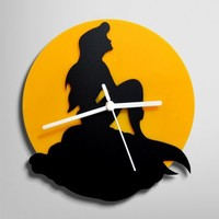 Silhouette Ariel The Little Mermaid Wall Clock