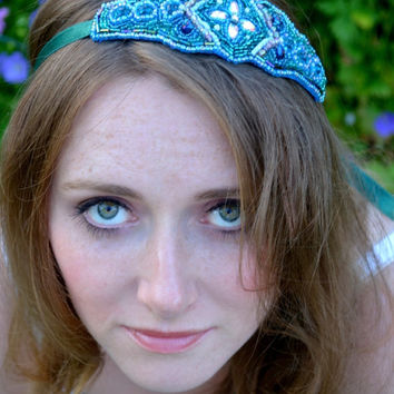 Couture beaded headband 1920s flapper, Great Gatsby, Art Deco, Downton Abbey headpiece