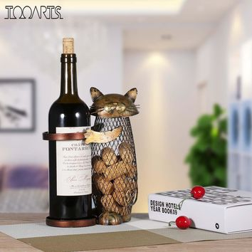 Cat Shaped Metal Wine Rack, Bottle Holder, Cork Container