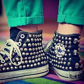 studded converse silver rivet studs with converse high top by customduo on etsy