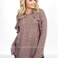 Marlow Ruffle Taupe Top