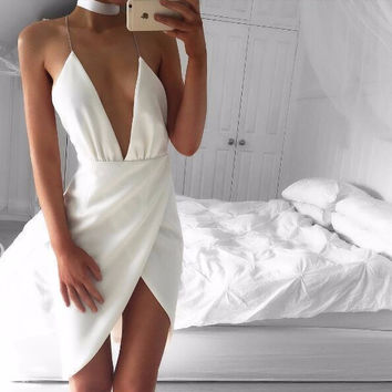 White Criss-Cross Deep-V Cocktail Dress