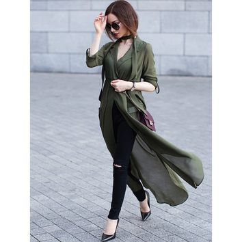 Army Green Deep V Neck Selftie Pockets Chiffon Blouse