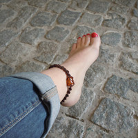Creativity anklet, carnelian stone, macrame anklet, orange crystals, body jewels, healing crystal, Cancer gift idea, wrapmeacrystal