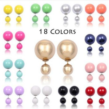 Double - sided pearl earrings candy color spherical earrings