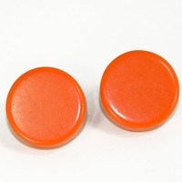 Orange Button Earrings Vintage Small Round Tangerine