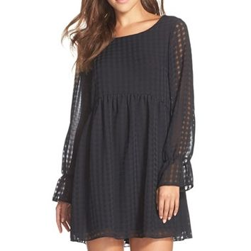 Women's BCBGeneration Woven Windowpane Babydoll Dress,