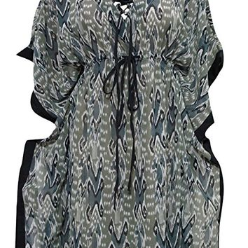 Mogul Women's Short Boho chic Kaftan Green Printed Boho Caftan Dress L