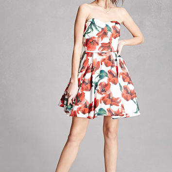 Floral Strapless Mini Dress