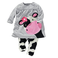 Girls Long Sleeved Cow Outfit