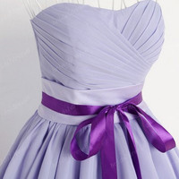 Light Purple Ruffled Strapless Bowknot Waistband Long Bridesmaid Dress,Knee Length Chiffon Evening Party Prom Dress New Homecoming Dress