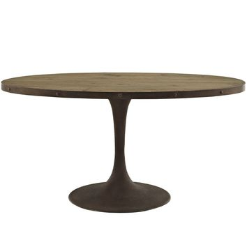 "Drive 60"" Industrial Modern Oval Wood Top Dining Table"