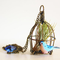 UK EU ONLY // Airplant bird cage canaray birdcage vintage style necklace with teardrop ab crystal / wearable terrarium planter